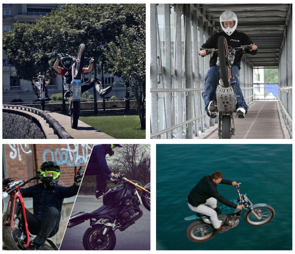 Motorrad Stunt film fernsehen Werbung